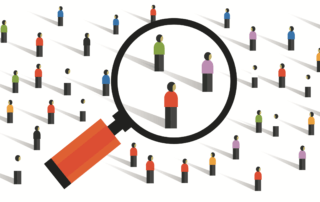 target client | magnifying glass over people